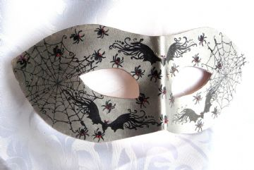 Exclusive Genuine Handmade Silver Leather Halloween  Mask